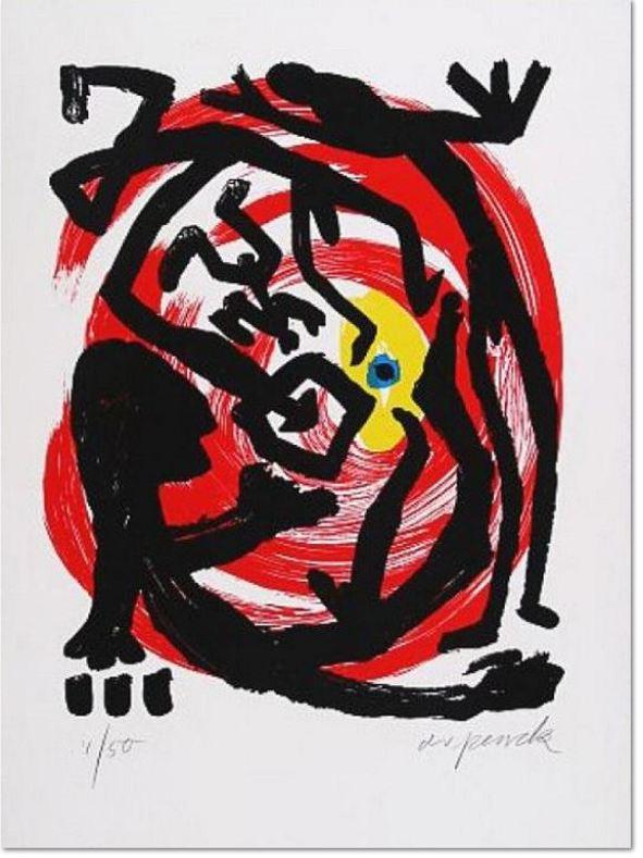 """A.R. Penck: 'Dresden"""" 1992, Siebdruck, handsigniert, nummeriert, lim. Auflage 50 Exemplare Blattformat: 64 x 48cm"""