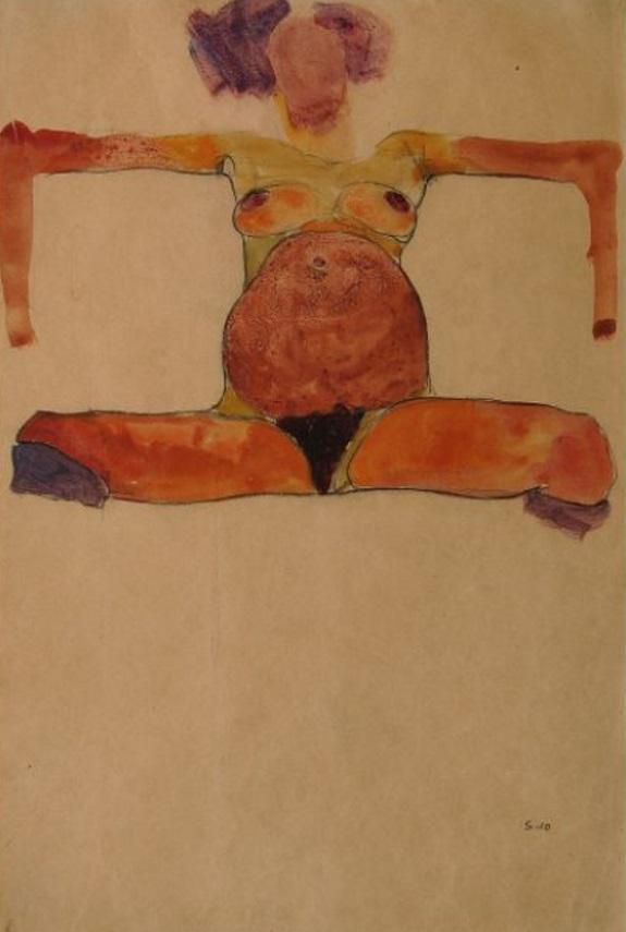 """Egon Schiele """"Sitzender schwangerer Akt"""" Aquarell und schwarze Kreide auf Papier, 1910"""