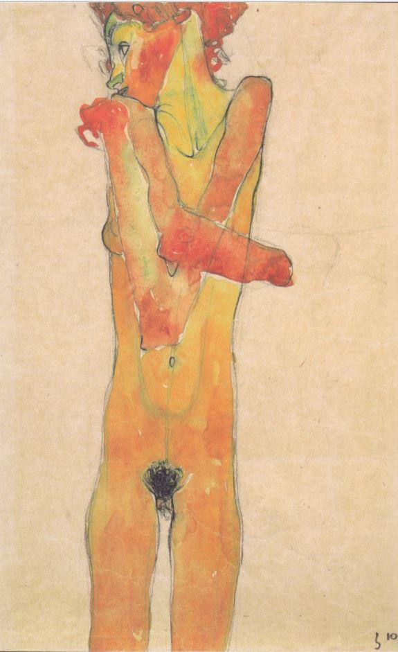 Egon Schiele - Mädchenakt mit verschränkten Armen - 1910