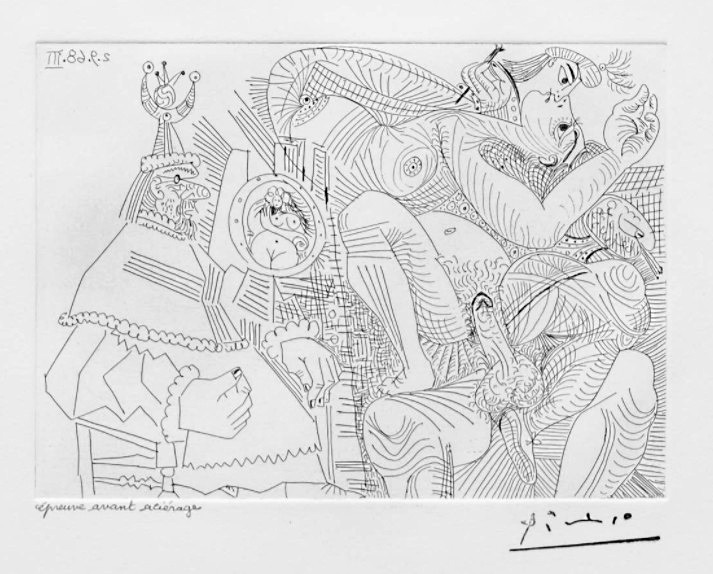 Pablo Picasso - Suite Vollard - Raphael et la Fornarina XII: Dans son Fauteuil, le Pape se Sent Cocu 1968