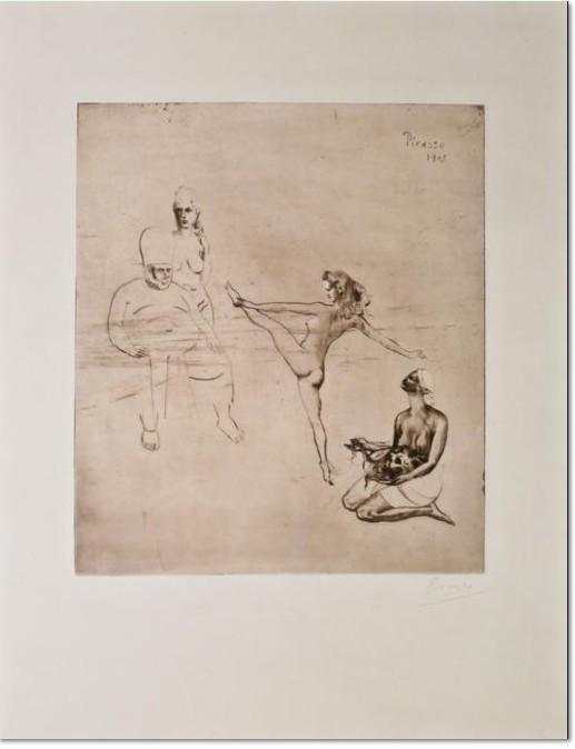 Salomé (Bloch 14) 1905 (between summer and the end of the year, Paris) Drypoint printed on Arches paper One of a few impressions before steelfacing Signed by the artist, lower right Printed by Delâtre, Paris, 1905 Image: 15 7/8 x 13 3/4 inches Sheet: 25 3/8 x 19 3/8 inches