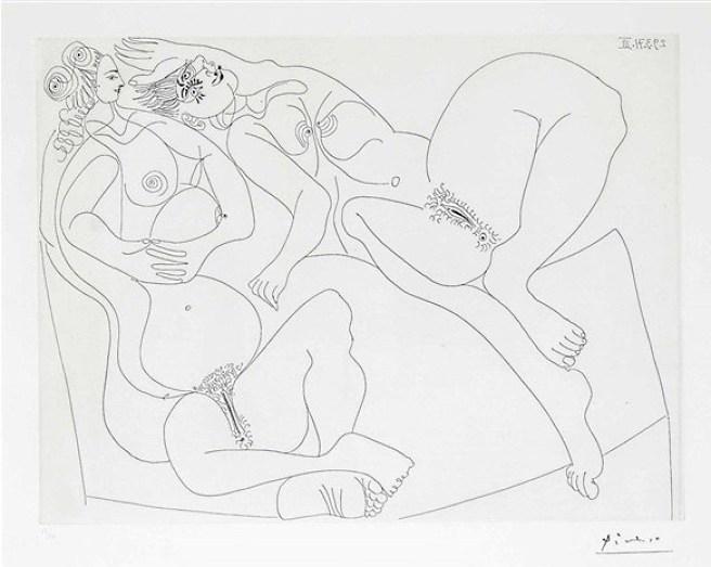 Pablo Picasso - Le Gout du Bonhur, gravure, Etching, Radierung 1971