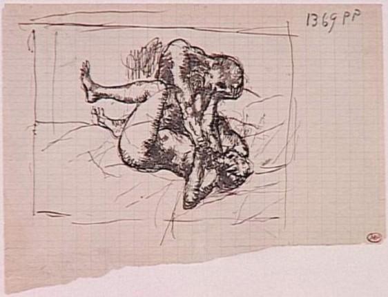 """Pablo Picasso: """"La femme étranglée"""", [Paris], [1902~1904]. Pen & brown ink on squared paper.16 x 21 cm. Musée Picasso, Paris."""