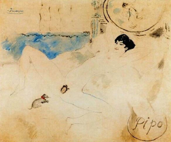 "Pablo Picasso:""Pipo"", 1901, Tusche auf Goldpapier, London, Privatsammlung, Courtesy by James Roundell"