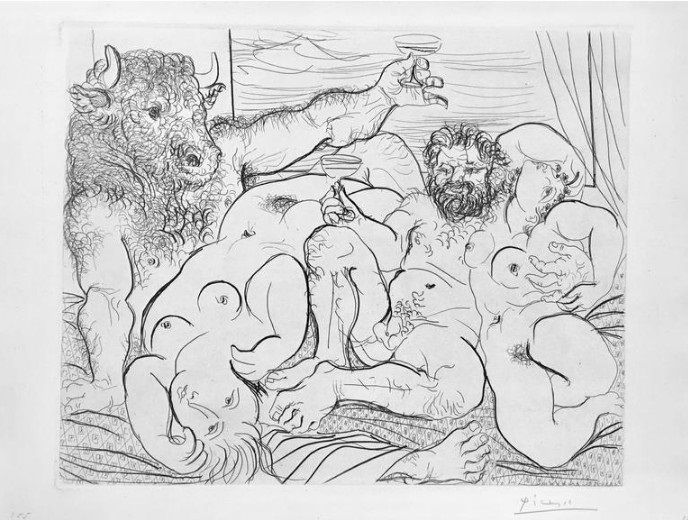 Pablo Picasso - Scène bacchique au Minotaure, 1933, from La Suite Vollard