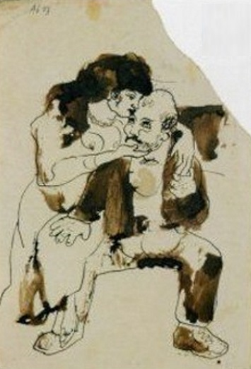 """Pablo Picasso: """"Bourgeois gentil homme cajolé"""", Barcelona, 1903, India ink, 31,5 x 21,8 cm, Private collection. Copyright © Estate of Pablo Picasso/ Artists Rights Society (ARS), New York. Catalog: OPP.03:131; P.I:865; Z.VI:524."""