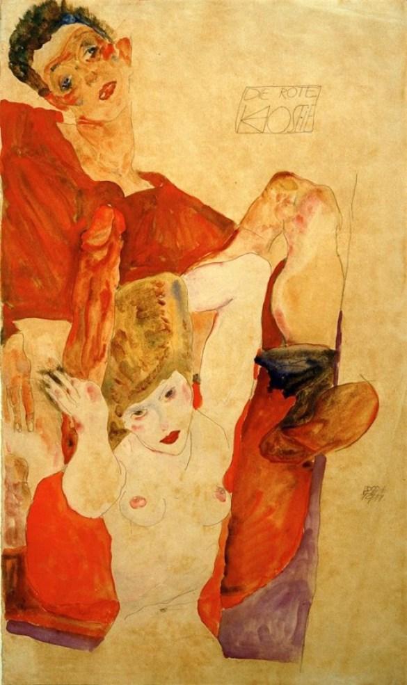 """Egon Schiele, 1890–1918. """"Die rote Hostie"""", 1911. Bleistift und Aquarell, 48,2 × 28,2 cm."""