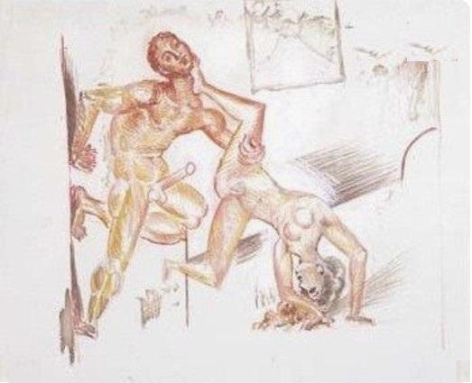 Pablo PicassoLe Couple ,1917, Gouache sur papier, 20 x 28 cm, collection particulière, Londres