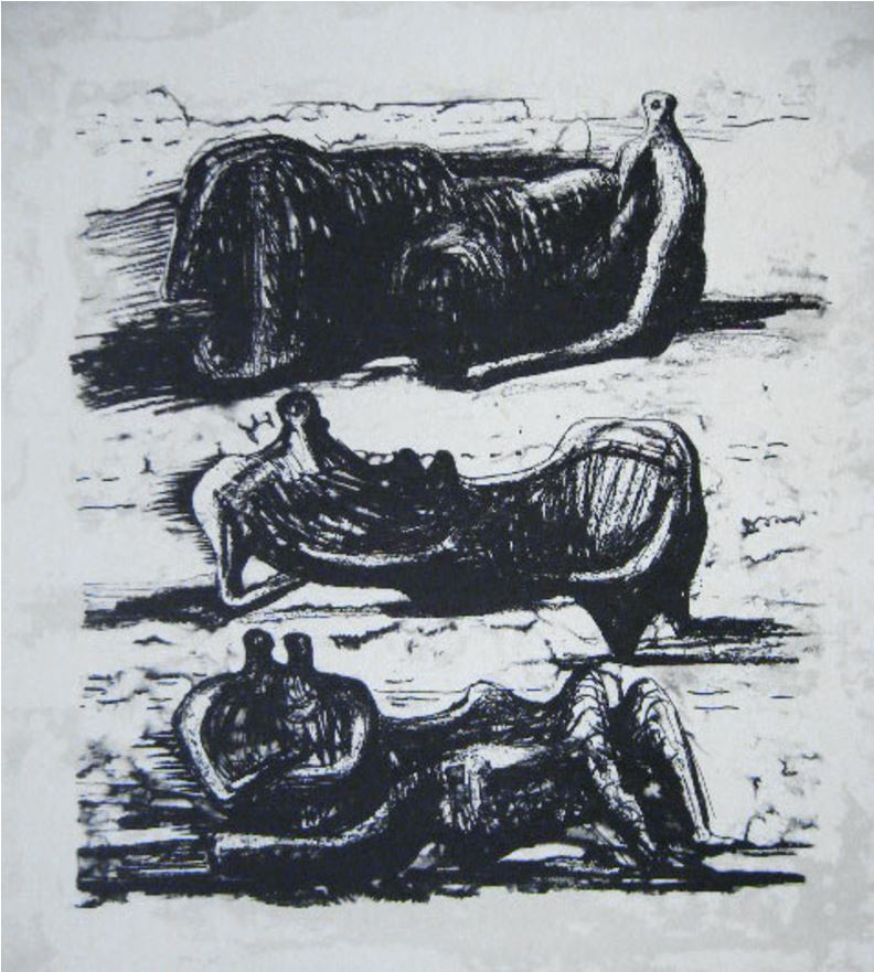 "Henry Moore - Three Reclining Figures, from: La Poesie, 1973, Original Hand Signed Lithograph in colours on Arches vellum paper Size: 47.2 x 38.5 cm / 18.6 x 15.2 in , hand signed by the artist in pencil with his initials ""H.M"" at the lower right margins. The work was printed as part of the portfolio ""La Poesie"" that included 10 original lithographs by Henry Moore. It was printed in 1976 by Curwen Studio, London and edited by Art et Poesie in a limited edition of 110 impressions. Literature: Cramer, Gerald, Grant, Alistar & Mitchinson, David, 1986. Henry Moore: Catalogue of the Graphic Work, Volume IV, 1980-1984. Geneva: Gerald Cramer. Reference: Cramer 325."