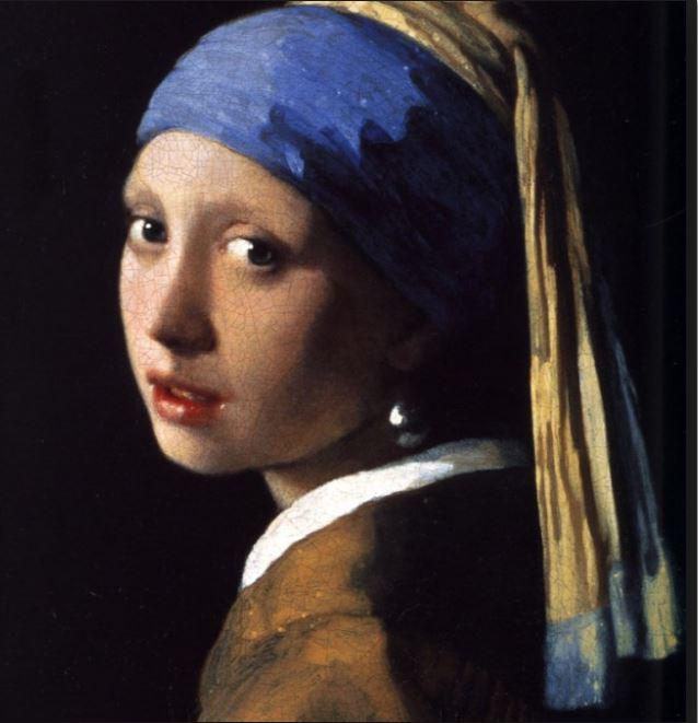 """Jan Vermeer: """"Das Mädchen mit dem Perlenohrgehänge"""", 1665, 45 × 40 cm, Öl auf Leinwand, Mauritshuis in Den Haag"""