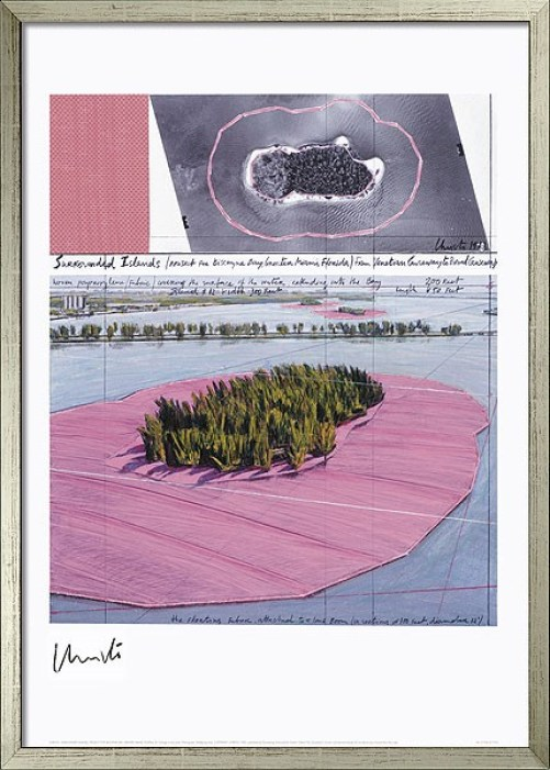 "Christo und Jeanne-Claude: ""Surrounded Islands III - Project Biscane Bay"", 2009, drucksigniert, Lithografie, Bildformat: 78 × 62 cm, Blattformat 100 × 70 cm."