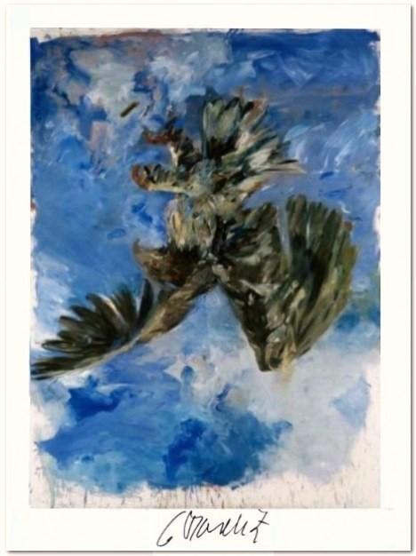 """Georg Baselitz: """"Fingermalerei -Der Adler"""", 2012, Kunstdruck, vom Künstler handsigniert, Format: 64 x 49,5 cm, Auflage 3 Exemplare, 300 g/m² Offsetdruck, (nach dem gleichnamigen Gemälde Öl auf Leinwand von 1972, Maße: 250 x 180 cm, zu sehen in den Bayerischen Staatsgemäldesammlungen, Pinakothek der Moderne, München). Galerie-Zertifikat zur Echtheitsbestätigung."""