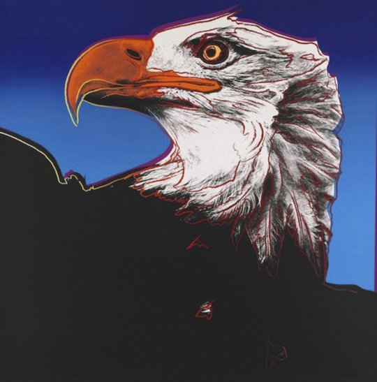 Warhol, Andy Endangered Species BALD EAGLE 1983, Silkscreen, not signed and numbered, Paper size 38 x 38 inch very good/excellent condition, Provenance: Private Collection, New York.