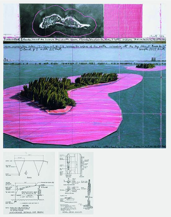 Christo und Jeanne-Claude: 'Surrounded Islands 1980 – 83', 2009, 7-part leporello, digital pigment print (Ditone) on 260 g/m² Hahnemühle Baryta paper, size: 32 x 175 cm / 12½ x 69 in. Edition: 75, handsigned and numbered