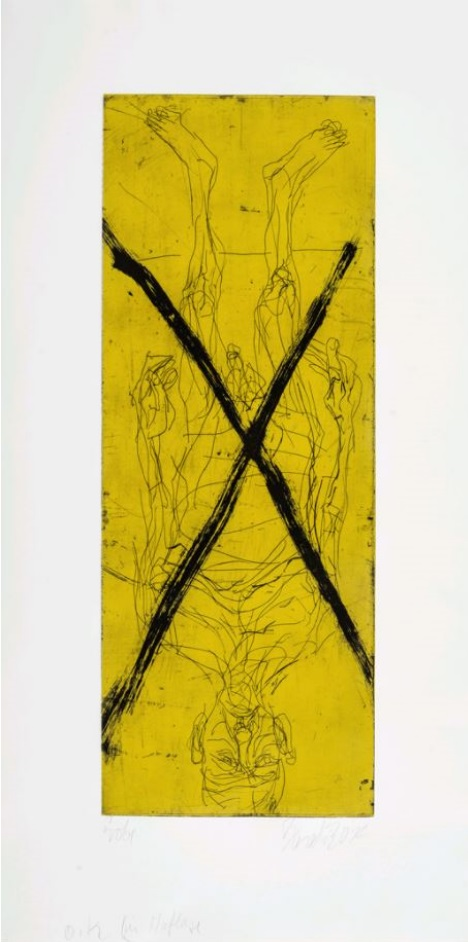Georg Baselitz: 'With out trousers (pants) in Avignon', 2014, Aquatinta, Dry Point and Etching on Sommerset White Satin 140 lb paper, signed and numbered, edition of 100 (70 arabic + 20 roman +10 AP), size: 105 x 53 cm - 41 3/8 x 21 in