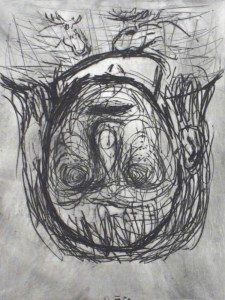 Georg Baselitz: 'Norweger Mädchen (Norwegian Girl)', 1986, Drypoint on Hahnemühle on 350 gr. wove paper, signed, numbered, edition of 25, size image: 43 x 32 cm, size sheet: 76 x 56 cm