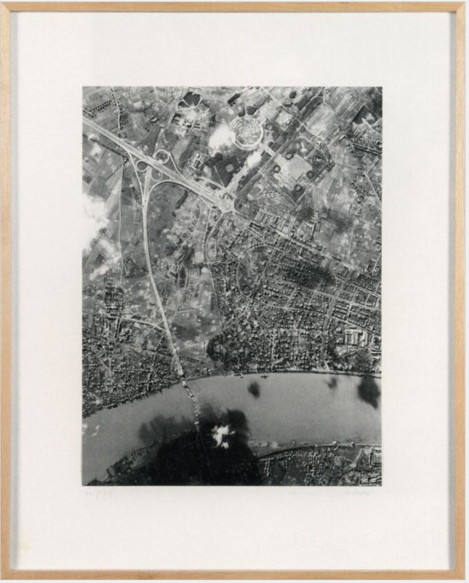 Gerhard Richter: BRIDGE 14 FEB 45, 2000/01, Duotone, varnished, mounted on board, in wooden frame 66.5 x 54 x 2 cm (26¼ x 21¼ x 1 in.), edition of 50 + XX, signed and numbered.