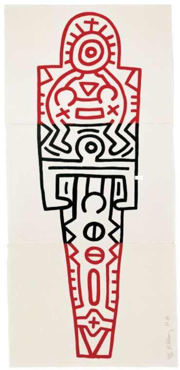 Keith Haring - Totem 1989. Three-part woodcut on Inshu-Kozu Japanese paper 70g, each sheet 65 x 89 cm, overall size 191.5 x 89 cm (75½ x 35 in.). Edition: 60, signed and numbered on bottom print.
