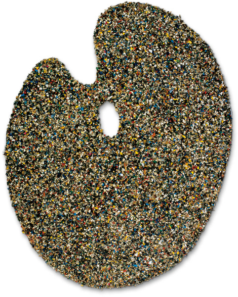 Tony Cragg - Palette 1986, From the portfolio For Joseph Beuys Wood, covered with plastic granules, 74 x 57 x 1.5 cm (29 x 22½ x ½ in), edition of 90 + XXX, signed and num.