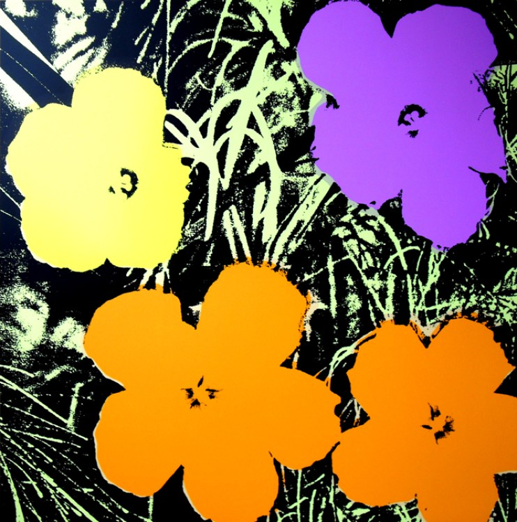 "Andy Warhol, Sunday B Morning, Flowers-11-67, Screen print on museum board paper, published by Sunday B. Morning. Inscriptions on the back: ""Published by Sunday B. Morning"" and ""Fill in your own signature"". These prints are found in Feldman & Schellmann's ""Andy Warhol's Catalogue Raisonne"". Certificate of authenticity issued by Sunday B. Morning included."