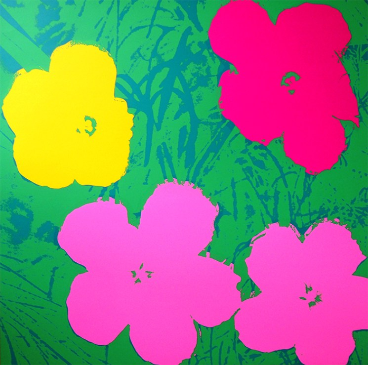 """Andy Warhol, Sunday B Morning, Flowers-11-68, Screen print on museum board paper, published by Sunday B. Morning. Inscriptions on the back: """"Published by Sunday B. Morning"""" and """"Fill in your own signature"""". These prints are found in Feldman & Schellmann's """"Andy Warhol's Catalogue Raisonne"""". Certificate of authenticity issued by Sunday B. Morning included."""