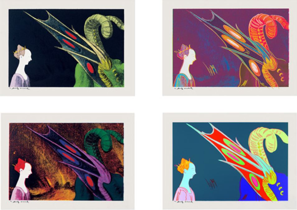Andy Warhol, Details of Renaissance Paintings 1984, (Paolo Uccello, St. George and the Dragon) Set of 4 screenprints on rag paper, each print 81 x 112 cm (32 x 44 in.), each signed and numbered. Edition of 50.