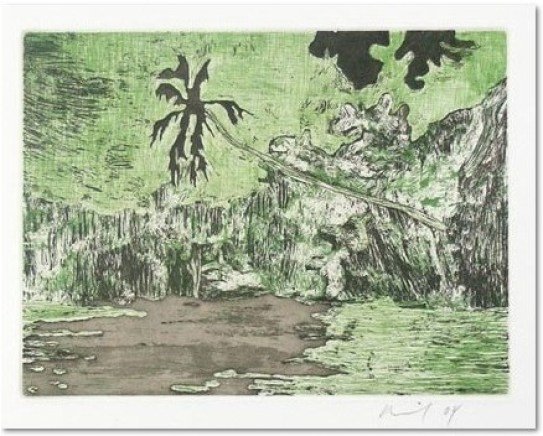 "Peter Doig: ""Black Palm"", 2004, Etching and aquatint in colors, signed and dated in pencil, numbered from the edition of 119. Printed on wove paper (Zerkall-Bütten, 250g/qm). Total size: 53 x 38 cm, image size: 14,6 x 19,5 cm, published by Griffelkunst, Hamburg."