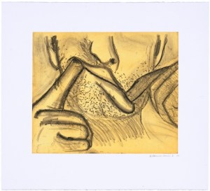 """Bruce Nauman Soft Ground Etching - Lavender, 2007, 1 of 2 color etchings 29 1/2"""" x 39"""" (74.93 x 99.06 cm) Edition of 50"""