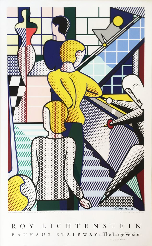 "Roy Lichtenstein: ""Bauhaus Stairway (After Oskar Schlemmer), The Large Version"", 1989, Silkscreen poster, signed, size image: 49 1/2 x 31 in, total size with frame: 52 3/4 x 34 in"