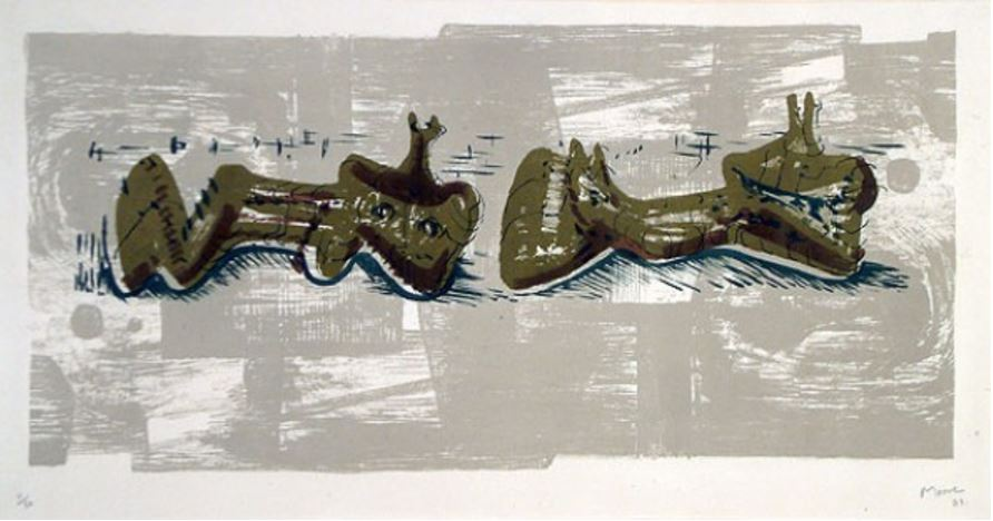 Henry Moore - Two Reclining Figures with River Background, 1963, Lithograph in colours on Oriental paper, Signed and numbered in pencil (Edition 50) Image: 30.5 x 62.9 cm