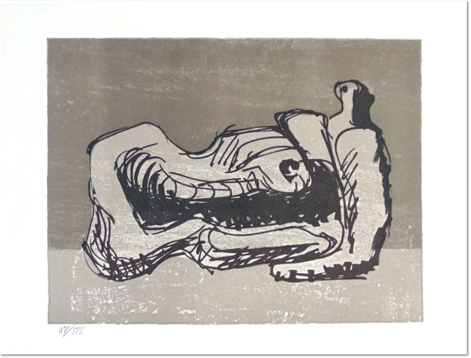 Henry Moore: Reclining Figure, 1975, Lithograph on Arches Wove Paper, hand numbered in pencil, from the edition of 575 at the lower left margin, edition of 575 produced for the book 'Hommage à San Lazzaro', there was also a deluxe edition of 75 signed and numbered impressions. It was printed by Curwen Prints, London and published by Société Internationale d'Art XX Siècle, Paris in 1975. Paper size: 28.6 x 38.4 cm. / 11.3 x 15.1 in. Image size: 21.3 x 28.3 cm. / 8.4 x 11.1 in. Literature: Cramer, G., Grant, A., & Mitchinson, D. (1973). Henry Moore: Catalogue of the Graphic Work 1931-1972. Geneva: Gérald Cramer Éditeur Reference: Cramer 366