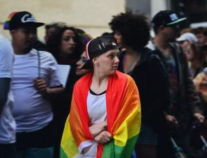 pride month person with flag