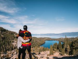 couple above lake