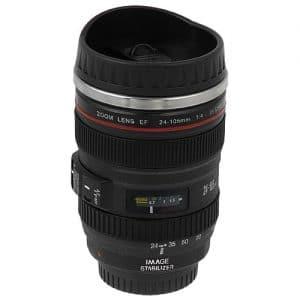 Seen here is a camera lens mug.