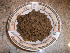 First we tried just slow cooking the taco meat, it has larger grain than when it is blended.