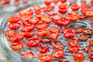 sun-dried cherry tomatoes on dehydrator tray