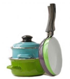 set of metal pots and pan cookware