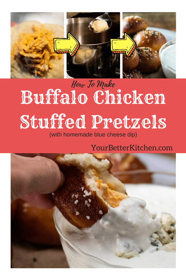 Buffalo Chicken Stuffed Pretzel Bites with blue cheese dipping sauce