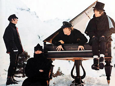"The Beatles making music on a snowy slope in ""Help!"""