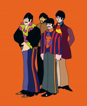 The Beatles in cartoon form.