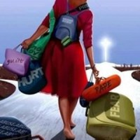 woman walking with baggage