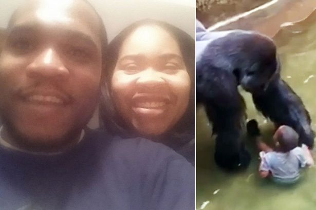 Michelle Gregg with husband Deonne Dickerson and their son who fell in the zoo