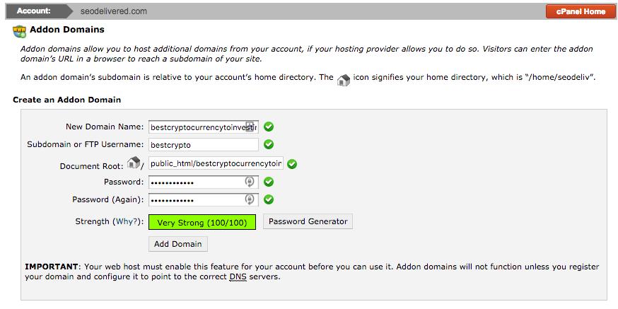 Addon Domain Form