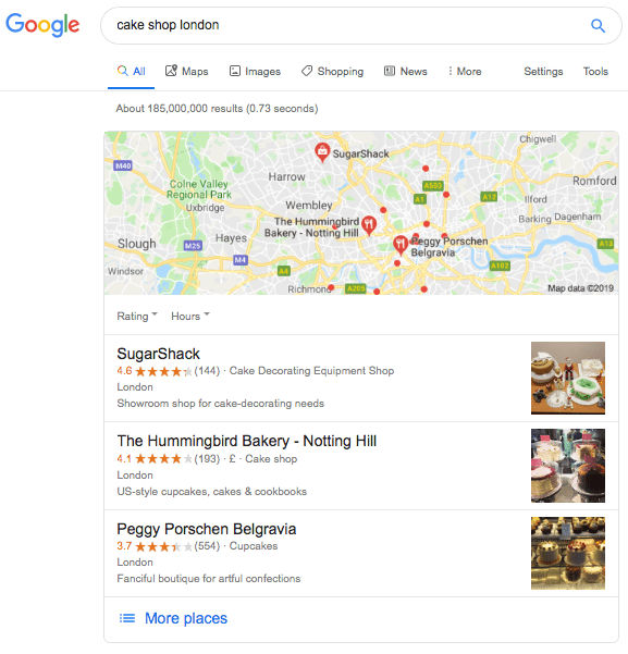 Google My Business Map Listing