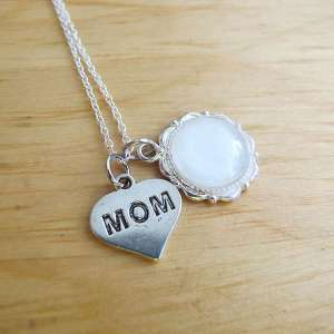 breast milk jewelry necklace with mom charm for mother's day