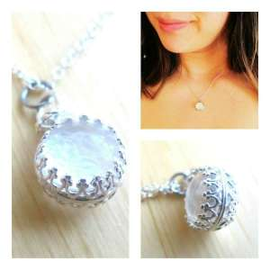 milk sphere breast milk jewelry necklace by Precious Mammaries