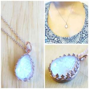 rose gold pink milk drop breast milk jewelry necklace by Precious Mammaries