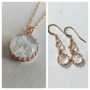 Red Queen Set_ Rose Gold Crown Round Necklace & Dangling Earrings Necklace