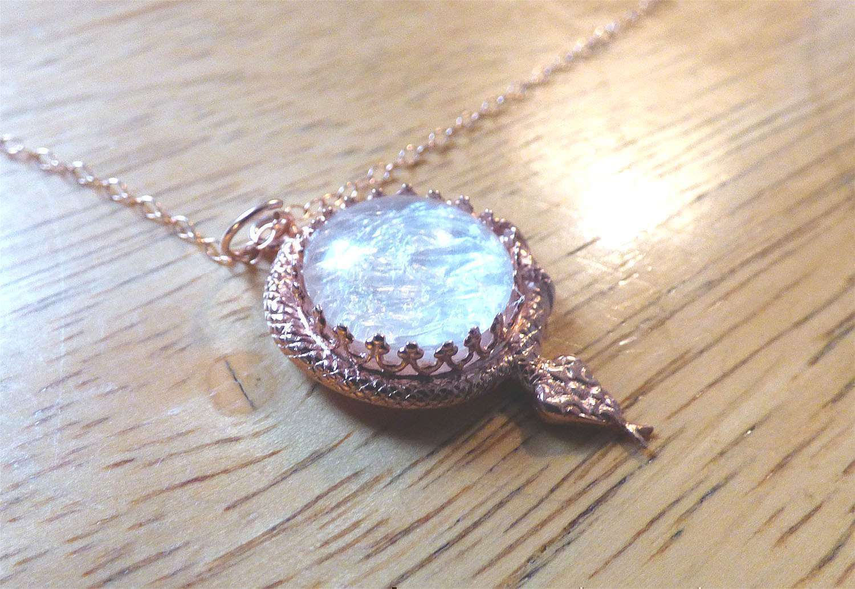 Sacred Serpent Rose Gold Crown Necklace Breast Milk Jewelry Keepsake
