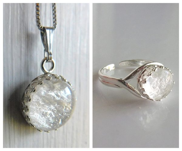 sterling silver round crown breast milk necklace jewelry adjustable ring set